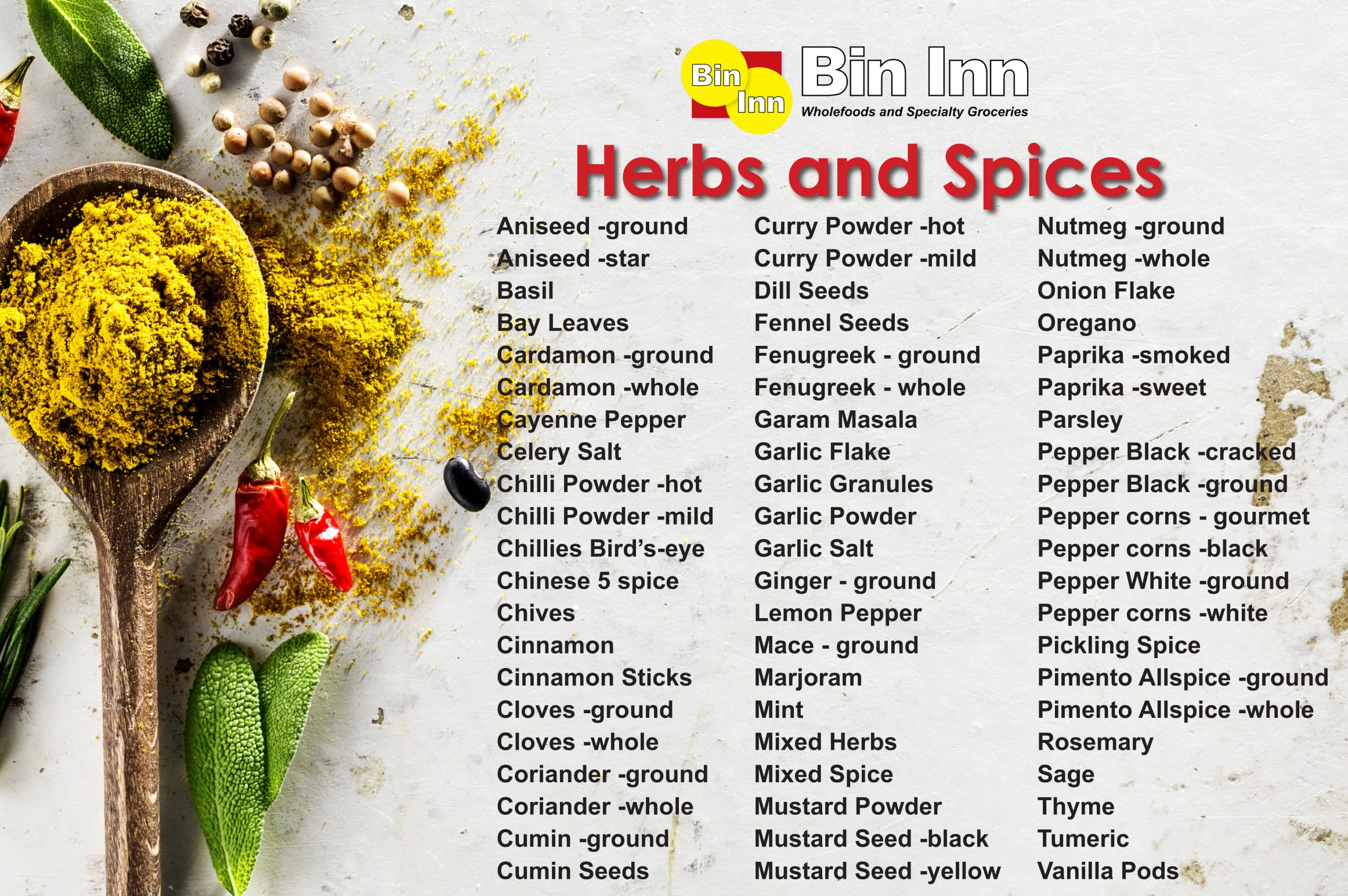 Herbs and Spices | Bin Inn | Wholefoods & Specialty Groceries